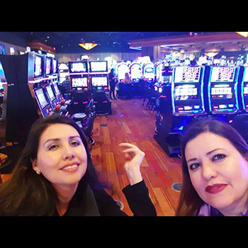 Girls smiling on the casino floor